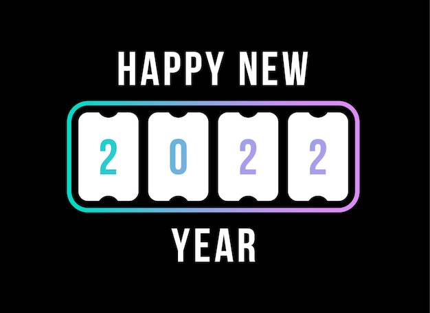 Happy new year with 2022 scoreboard countdown. concept of flipboard numerical, celebrate 2022 calendar template. flat style trend modern design vector illustration.