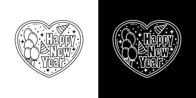 Happy new year with balloon in love monoline design