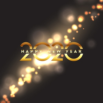 Happy new year with bokeh lights design