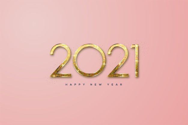 Happy new year  with clean gold glitter.