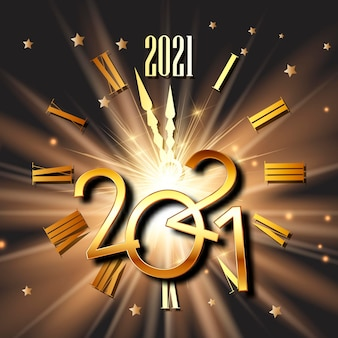 Happy new year with clock face and metallic numbers design