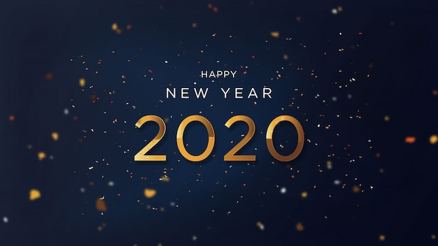 Happy new year with fancy gold text
