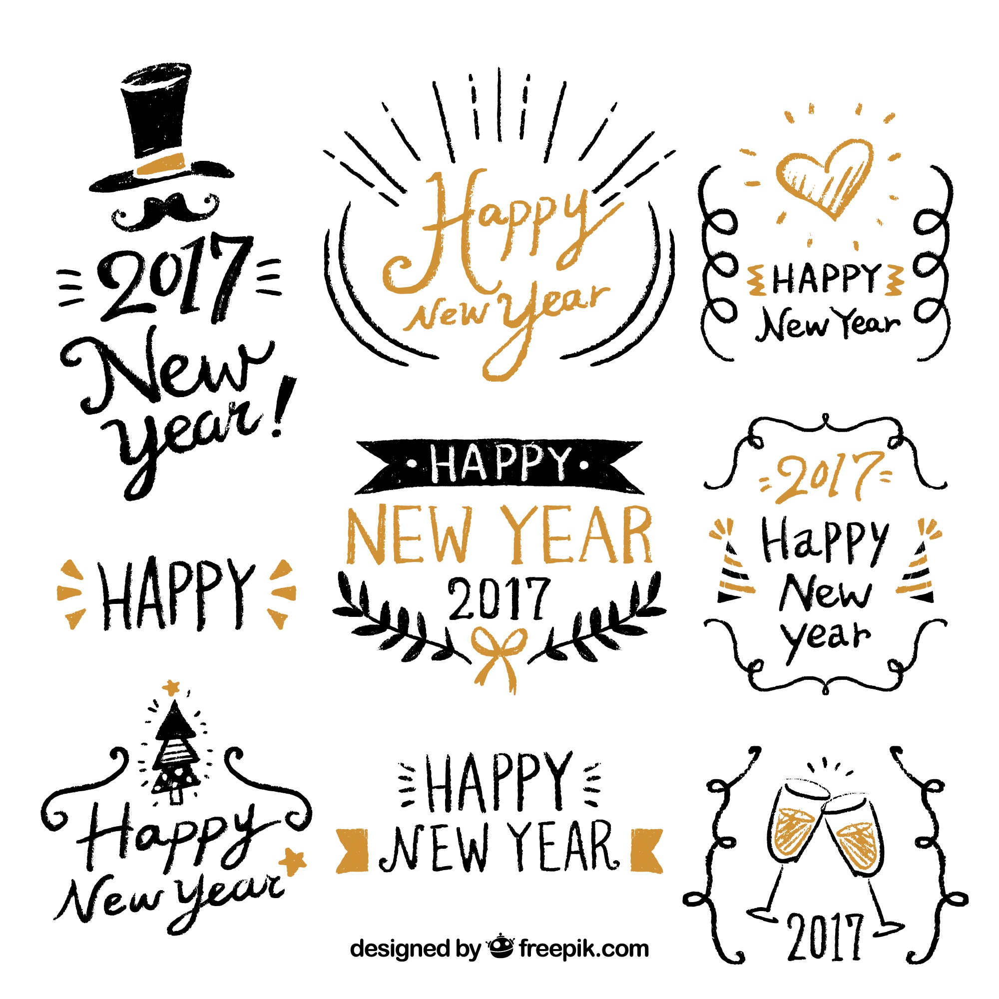 Happy new year with fantastic hand-drawn labels