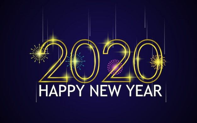 Happy new year with fireworks and golden 2020