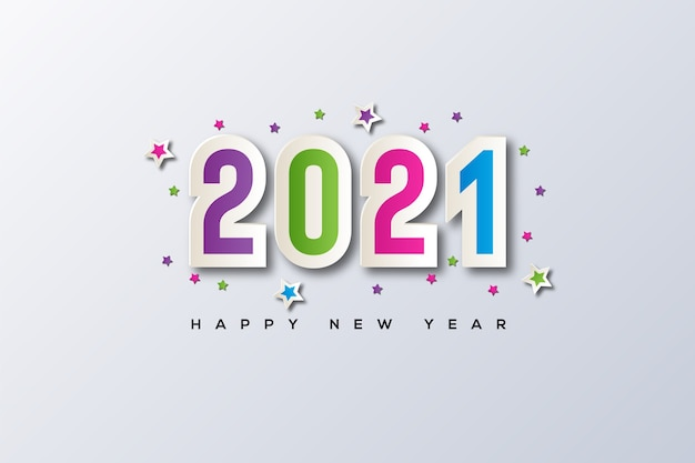 Happy new year with the frame and star vector in the middle