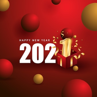 Happy new year with gift concept and red color