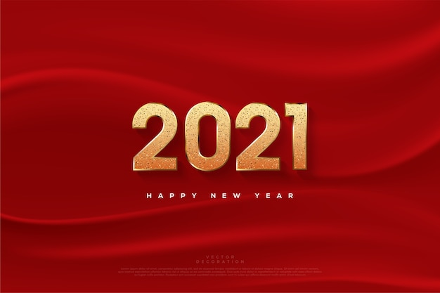 Happy new year  with glitter numbers and red cloth.
