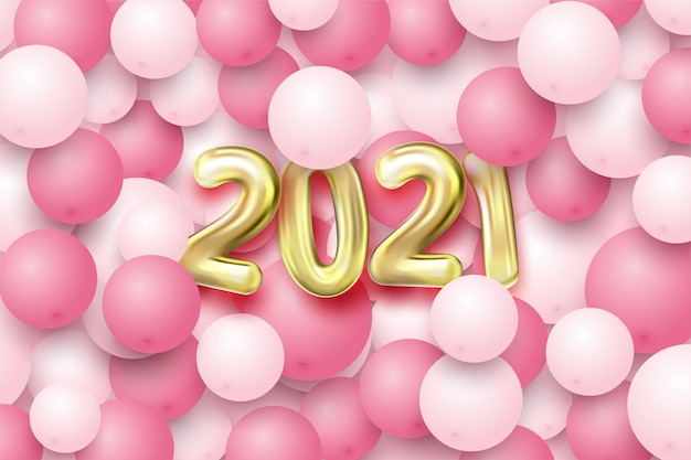 Happy new year with gold balloons and white and pink balloons.