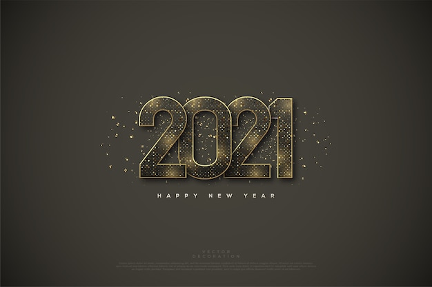 Happy new year  with a gold halftone color.