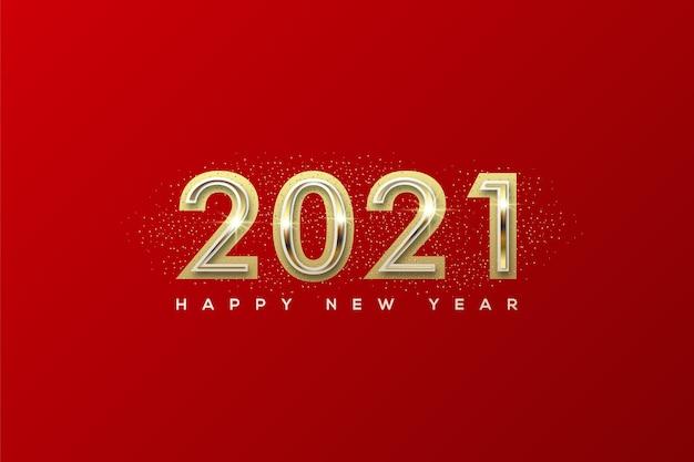 真ん中に黄金の数字で新年あけましておめでとうございます
