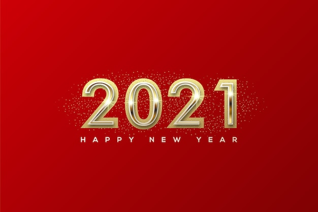 Happy new year with golden numbers in the middle