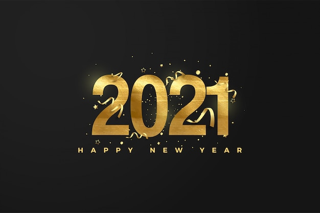 Happy new year with golden numbers