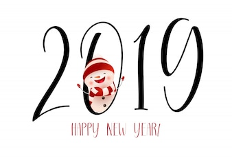 Happy New Year with laughing snowman banner design