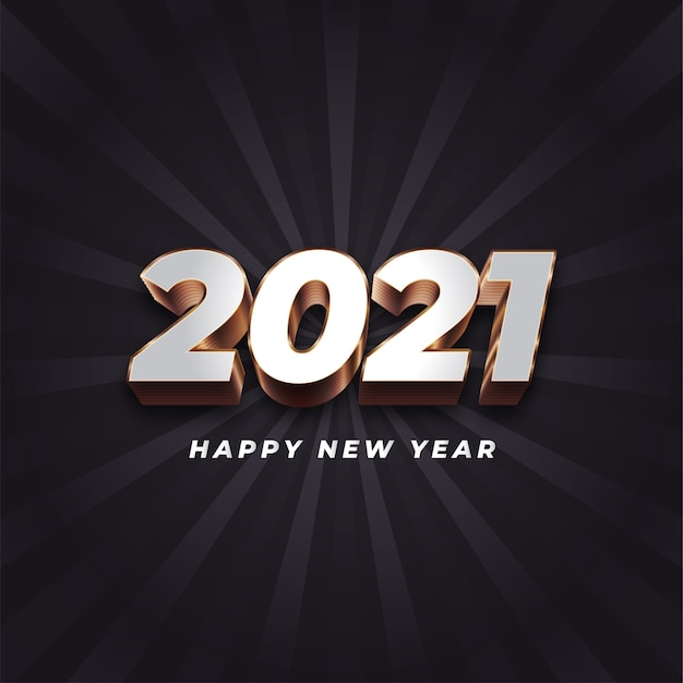 Happy new year  with metal numbers on dark background