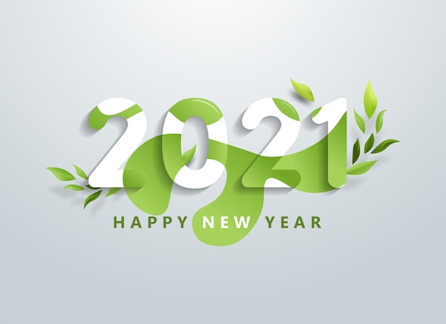 Happy new year with natural green leaves banner.