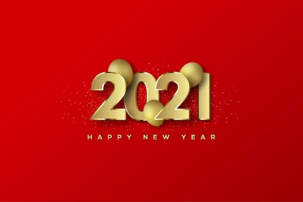 숫자와 풍선 중간에 새해 복 많이 받으세요