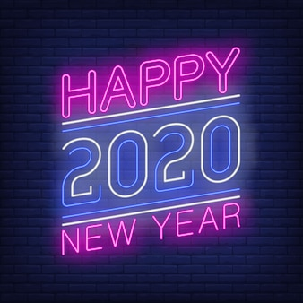 Happy new year with numbers neon sign