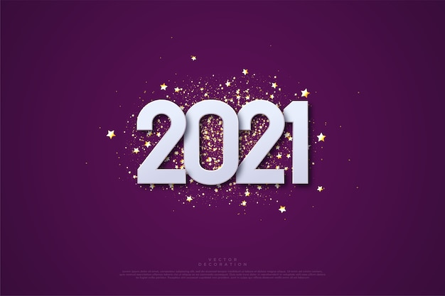 Happy new year  with numbers and scattering pieces of gold paper.