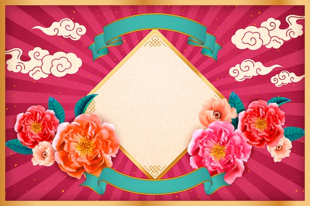 Happy new year with peony flowers and spring couplets on fuchsia striped background