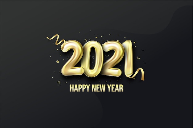 Happy new year with realistic golden balloon figures on a black background.