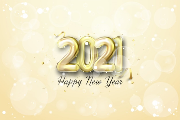 Happy new year with realistic golden balloon figures on a shiny gold background.