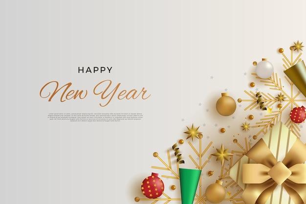 リアルなグリーンとゴールドのお祝いトランペットの装飾で新年あけましておめでとうございます