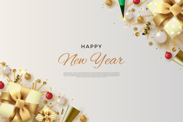 リアルな白いギフトボックスで新年あけましておめでとうございます
