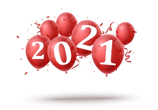 Happy new year with red balloon
