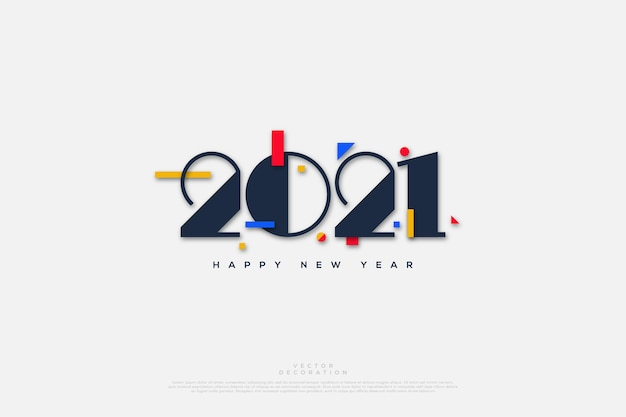 Happy new year  with simple numbers and colorful paper cutouts.