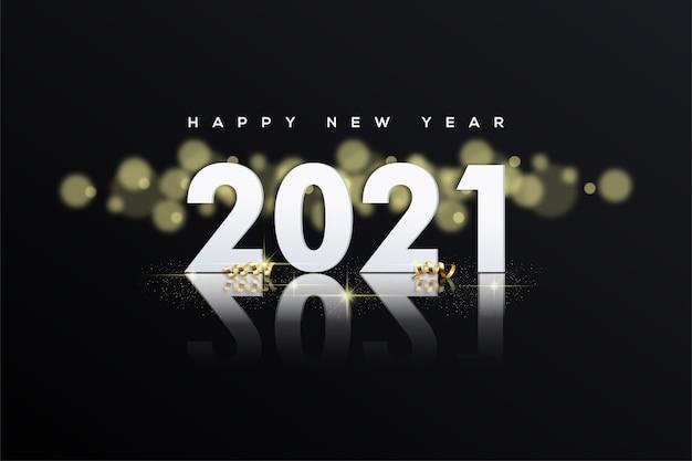간단한 흰색 숫자와 bokeh로 새해 복 많이 받으세요