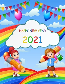 Happy new year with student on the rainbow