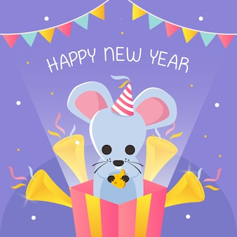 Happy new year with text shaped like cheese and mouse inside present box vector
