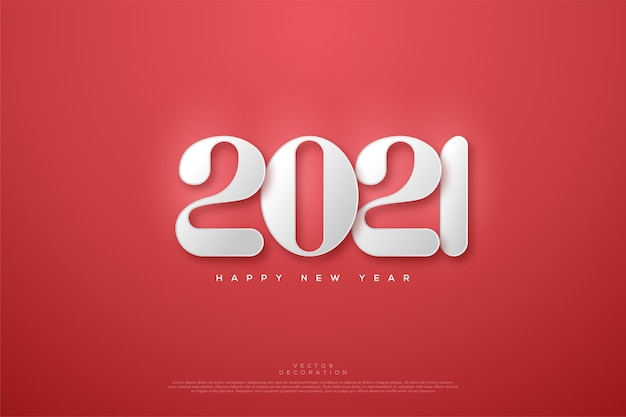 Happy new year  with white rounded numbers on a red background.