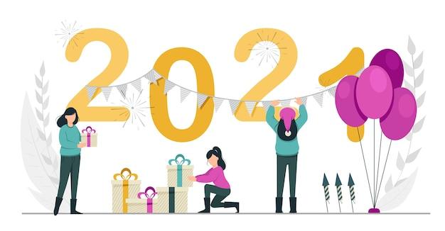 Happy new year  women preparing for celebration