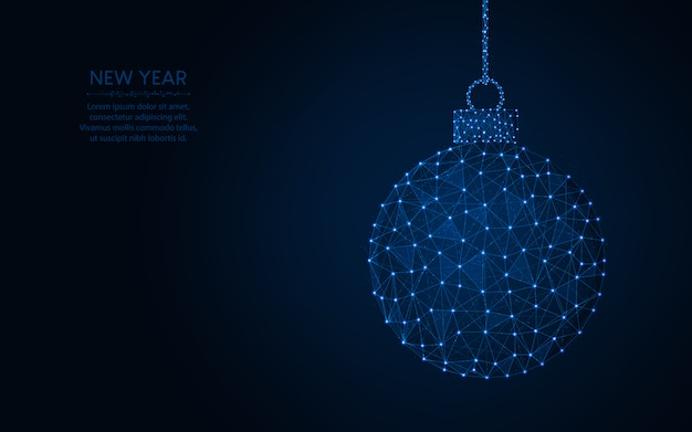 Happy new year word  christmas ball abstract geometric image, wireframe mesh polygonal vector illustration made from points and lines