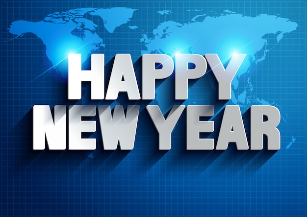 Happy new year world map background