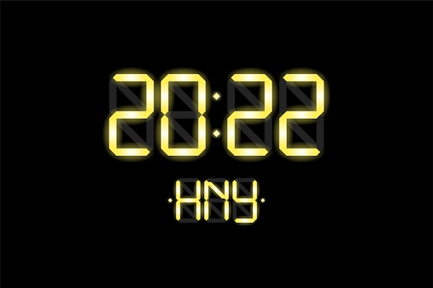 Happy new year xmas holiday card with digital lcd electronic display clock number 2022 and hny