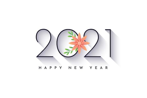 С новым годом 2021 с цветочным дизайном цветов