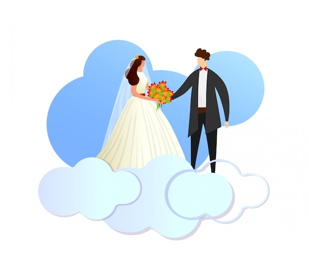 Happy newlywed loving couple standing on clouds.