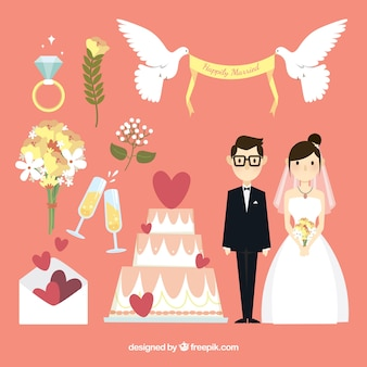 Happy newlyweds with decorative items