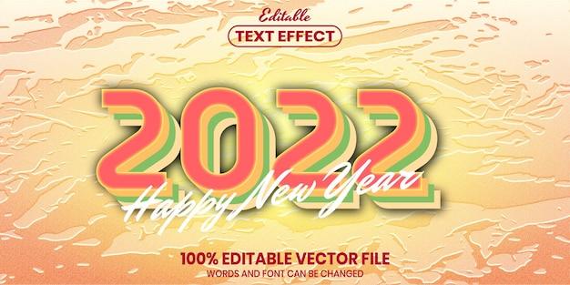 С новым годом 2022 текст, редактируемый текстовый эффект в стиле шрифта