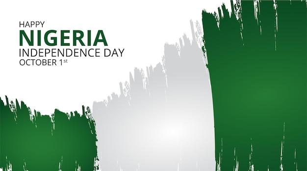 Счастливый день независимости нигерии фон с размахивая флагом иллюстрации гранж