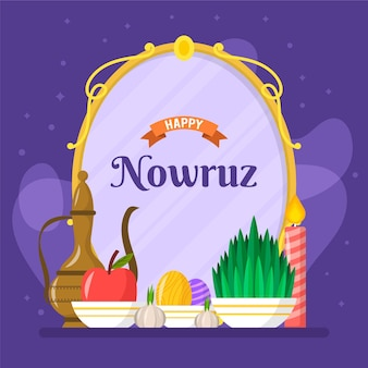 happy nowruz celebrating flat illustration