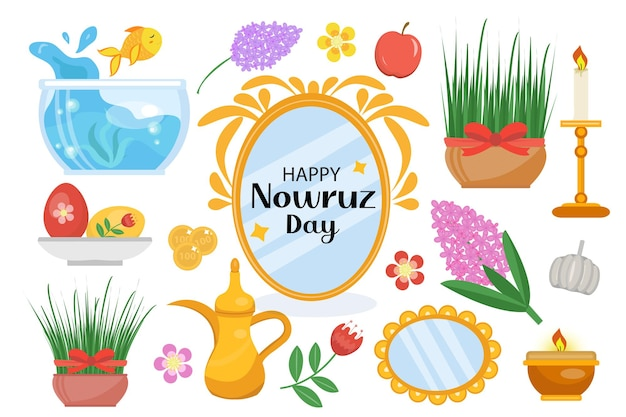 Happy nowruz day objects set. collection of elements with potted grass, hyacinth flowers, aquarium with goldfish, mirror. new year in iran.
