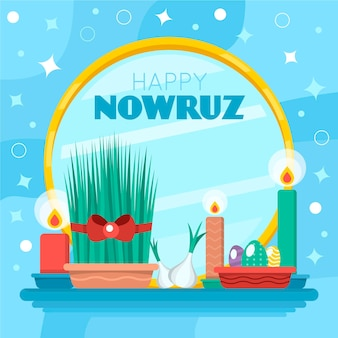 Happy nowruz event flat design illustration