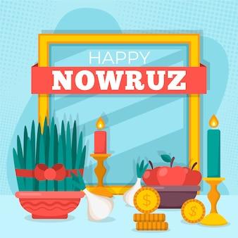 Happy nowruz event flat illustration