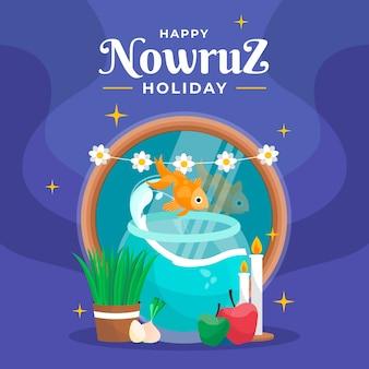 Happy nowruz event hand drawn style