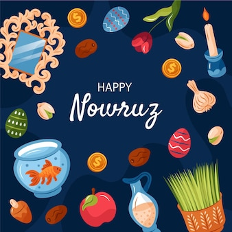 Happy nowruz hand drawn elements