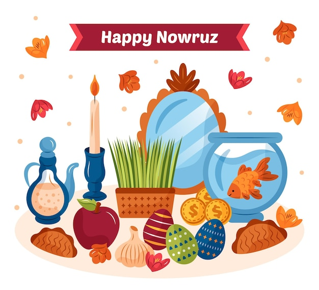 Happy nowruz hand drawn illustration