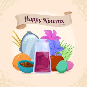 Happy nowruz hand drawn